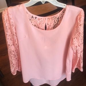 Brand new sheer pink blouse with lace